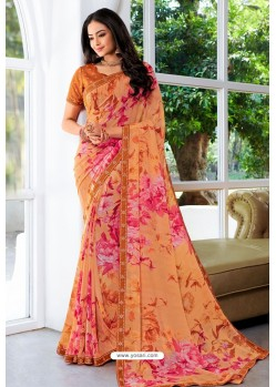 Light Orange Designer Printed Georgette Sari