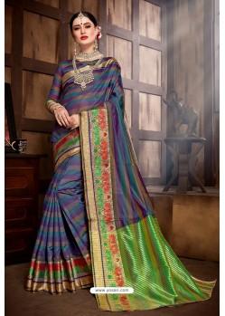 Dark Blue Designer Banarasi Art Silk Party Wear Sari