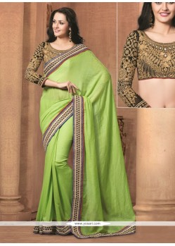 Deserving Green Jute Cotton Designer Saree