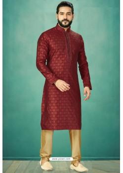 Maroon Readymade Banarasi Silk Kurta Pajama For Men