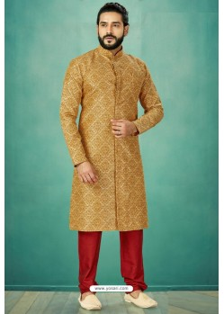 Mustard Readymade Banarasi Silk Kurta Pajama For Men