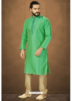 Green Readymade Banarasi Silk Kurta Pajama For Men