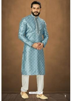 Blue Readymade Banarasi Silk Kurta Pajama For Men