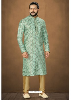 Sky Blue Readymade Banarasi Silk Kurta Pajama For Men