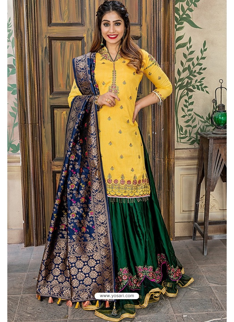 Yellow Designer Party Wear Palazzo Salwar Suit