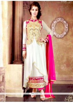 Voluptuous Net Off White Zari Work Salwar Suit