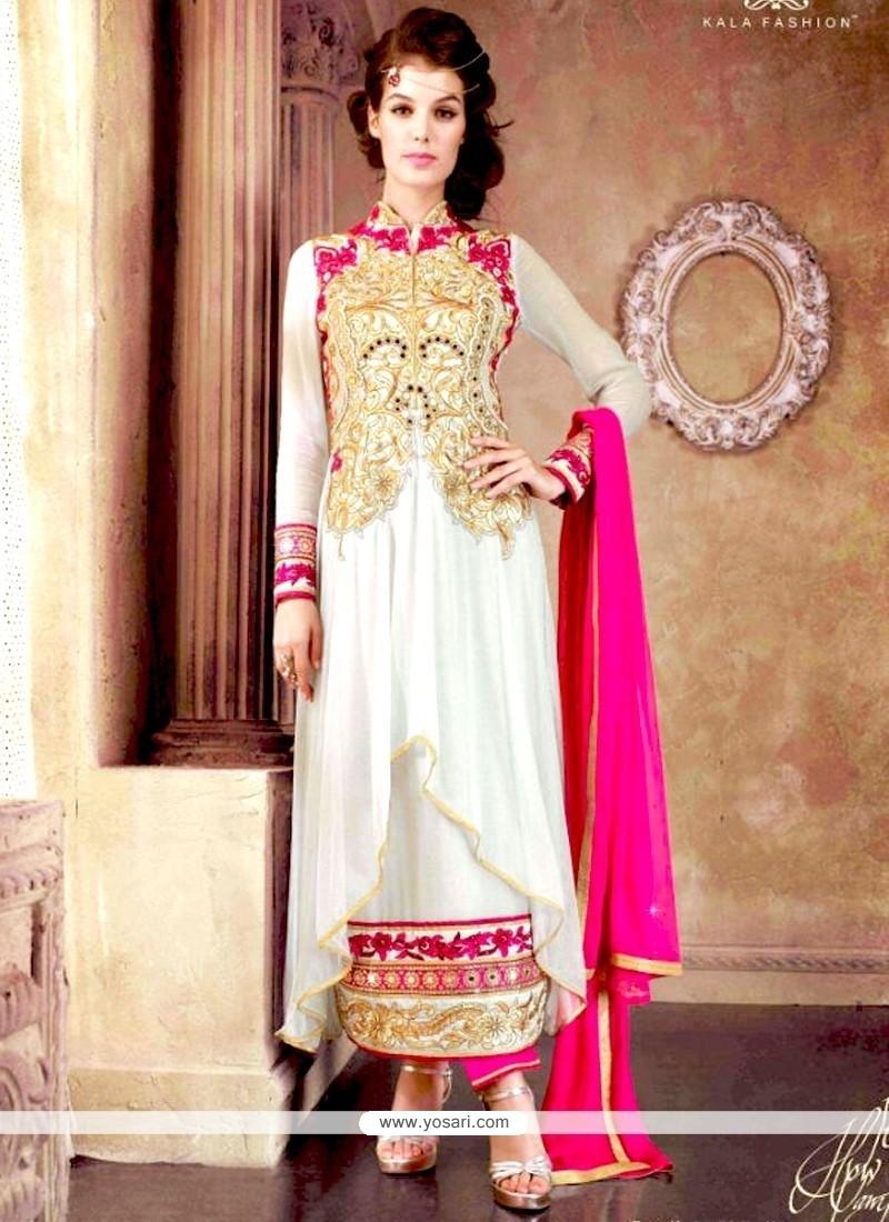 Voluptuous Net Off White Zari Work Salwar Suit