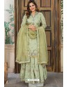 Olive Green Designer Party Wear Palazzo Salwar Suit