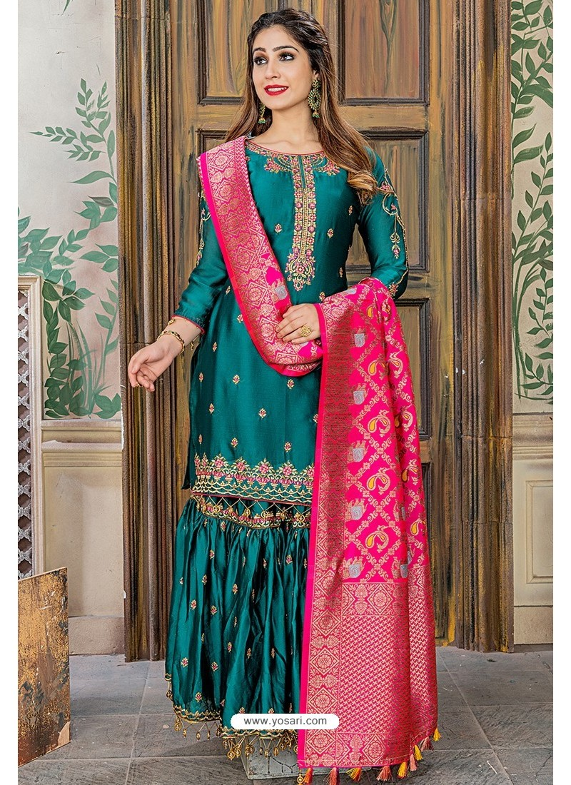 Teal Designer Party Wear Palazzo Salwar Suit