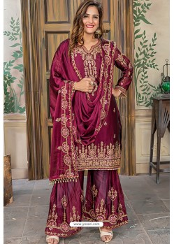 Deep Wine Designer Party Wear Palazzo Salwar Suit
