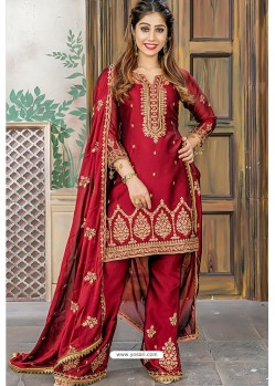 Maroon Designer Party Wear Palazzo Salwar Suit