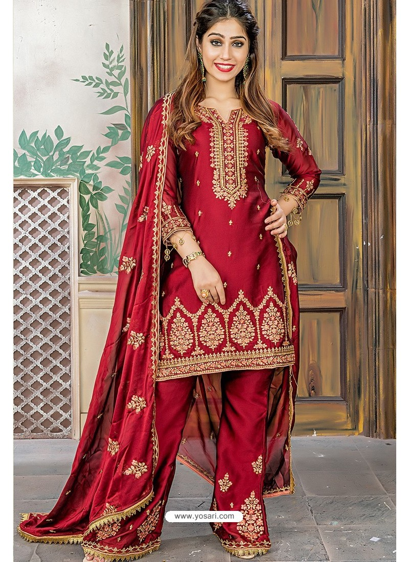 Maroon Designer Party Wear Palazzo Salwar Suit