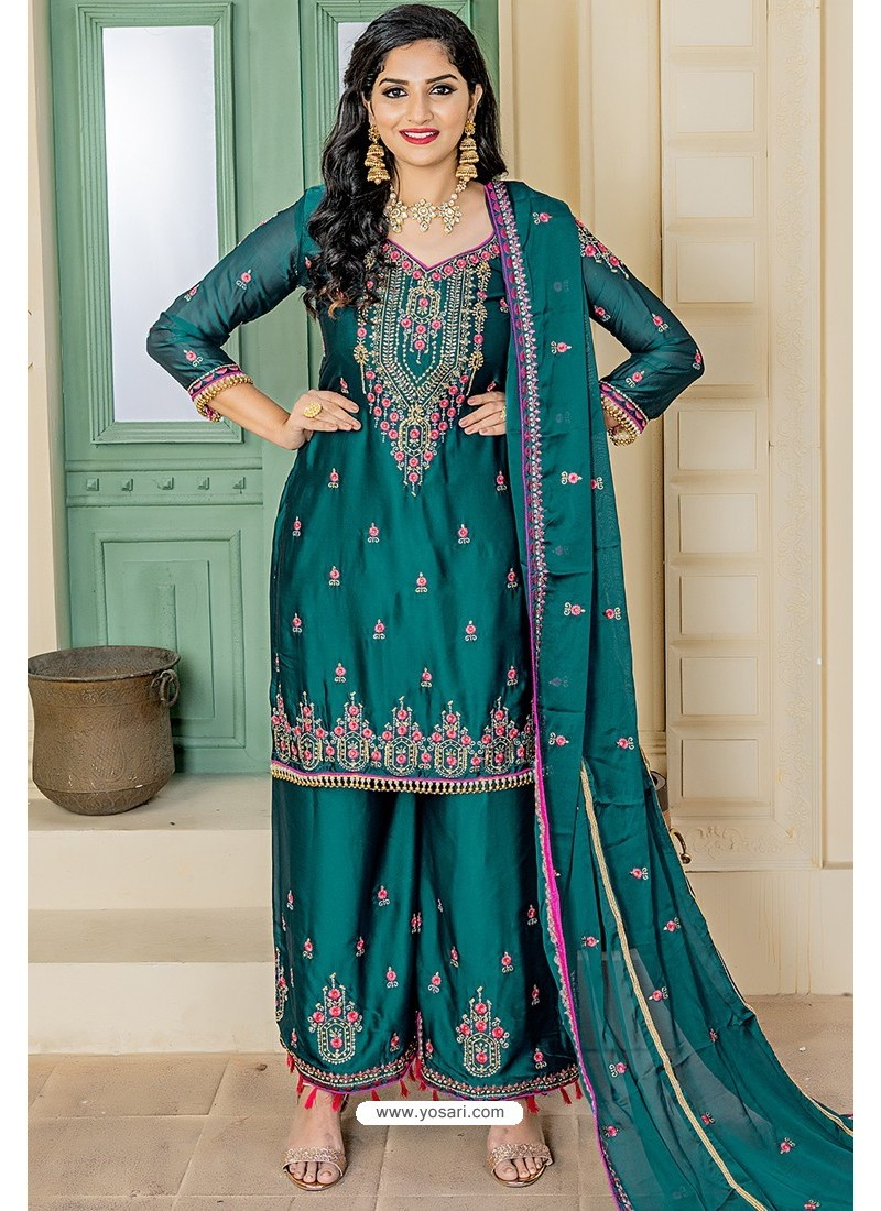 Teal Blue Designer Party Wear Palazzo Salwar Suit