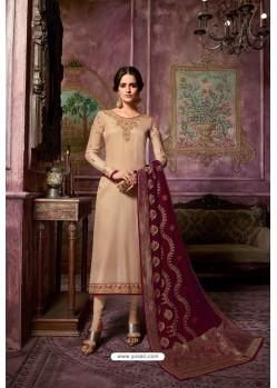 Beige Embroidered Satin Georgette Straight Salwar Suit