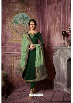 Dark Green Embroidered Satin Georgette Straight Salwar Suit