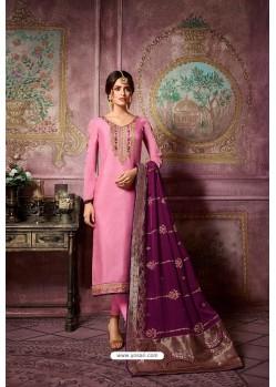 Pink Embroidered Satin Georgette Straight Salwar Suit