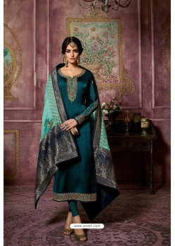 Teal Blue Embroidered Satin Georgette Straight Salwar Suit