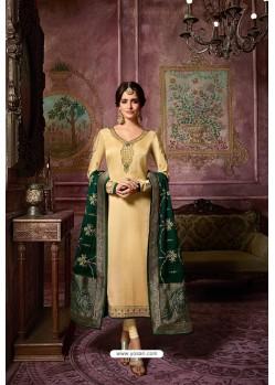 Cream Embroidered Satin Georgette Straight Salwar Suit