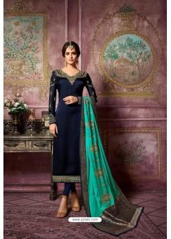 Navy Blue Embroidered Satin Georgette Straight Salwar Suit