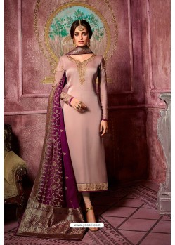 Old Rose Embroidered Satin Georgette Straight Salwar Suit