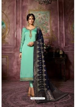 Sky Blue Embroidered Satin Georgette Straight Salwar Suit