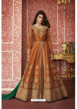 Rust Heavy Embroidered Designer Silk Anarkali Suit