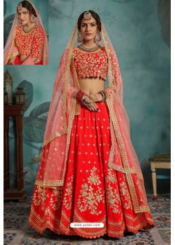 Red Exclusive Art Silk Designer Readymade Lehenga Choli
