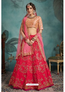 Dark Peach Exclusive Art Silk Designer Readymade Lehenga Choli