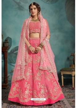 Pink Exclusive Art Silk Designer Readymade Lehenga Choli