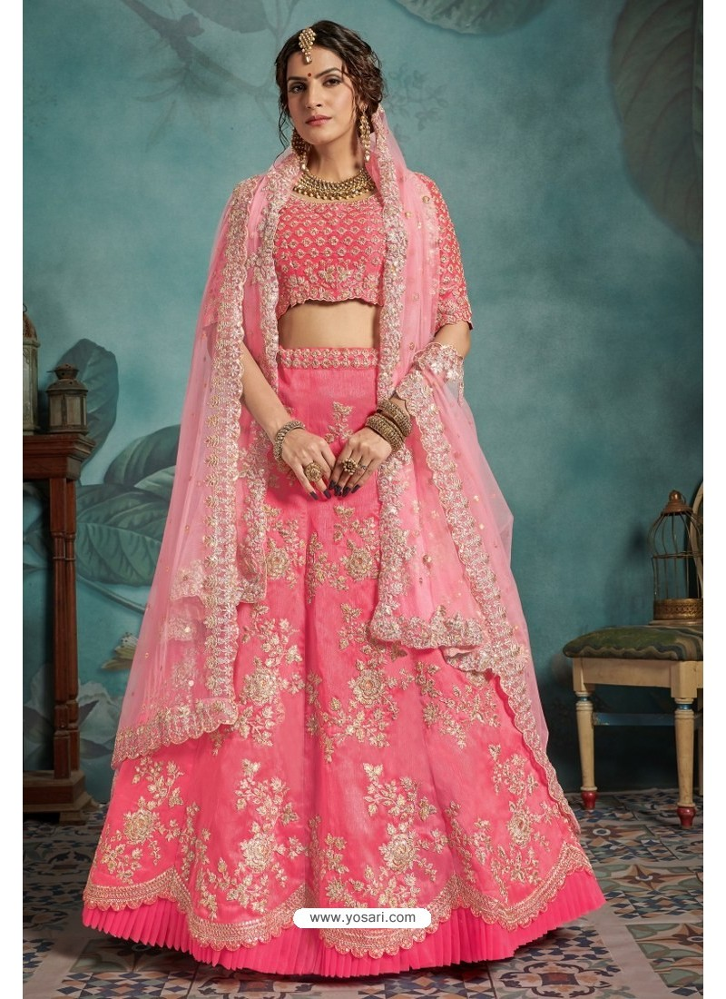 Pink Exclusive Art Silk Designer Readymade Lehenga Choli