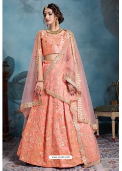 Light Orange Exclusive Art Silk Designer Readymade Lehenga Choli