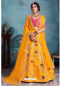 Yellow Exclusive Art Silk Designer Readymade Lehenga Choli