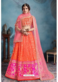 Orange Exclusive Art Silk Designer Readymade Lehenga Choli