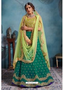 Aqua Mint Exclusive Art Silk Designer Readymade Lehenga Choli