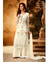 Off White Embroidered Pure Viscos Bemberg Georgette Palazzo Salwar Suit