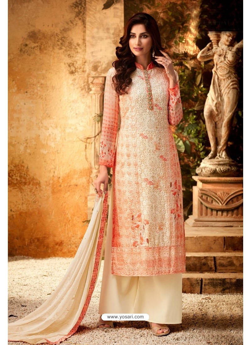 Peach Embroidered Pure Viscos Bemberg Georgette Palazzo Salwar Suit