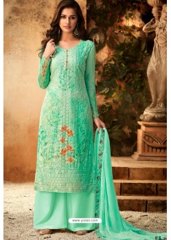 Jade Green Embroidered Pure Viscos Bemberg Georgette Palazzo Salwar Suit