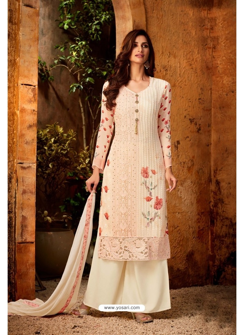 Baby Pink Embroidered Pure Viscos Bemberg Georgette Palazzo Salwar Suit