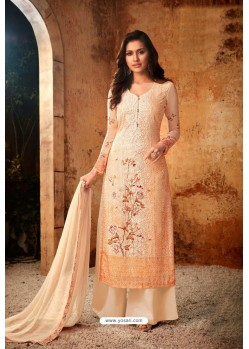 Light Orange Embroidered Pure Viscos Bemberg Georgette Palazzo Salwar Suit