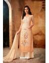 Light Orange Embroidered Pure Viscos Bemberg Georgette Palazzo Salwar Suit