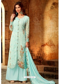 Sky Blue Embroidered Pure Viscos Bemberg Georgette Palazzo Salwar Suit