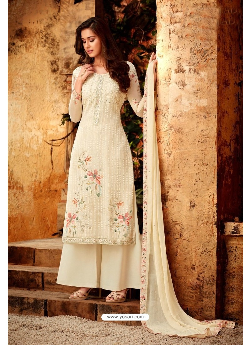 Cream Embroidered Pure Viscos Bemberg Georgette Palazzo Salwar Suit