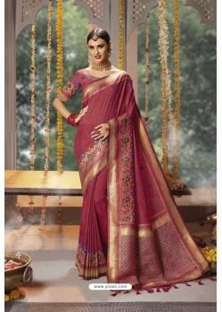 Rose Red Designer Blended Cotton Jacquard Banarasi Silk Party Wear Sari
