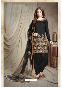 Black Designer Faux Georgette Punjabi Patiala Suit