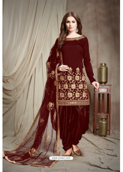 Maroon Designer Faux Georgette Punjabi Patiala Suit