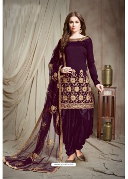 Purple Designer Faux Georgette Punjabi Patiala Suit