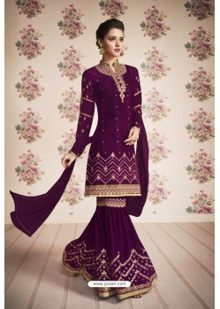 Deep Wine Heavy Embroidered Designer Real Georgette Sharara Salwar Suit