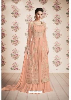 Light Orange Heavy Embroidered Designer Real Georgette Anarkali Suit