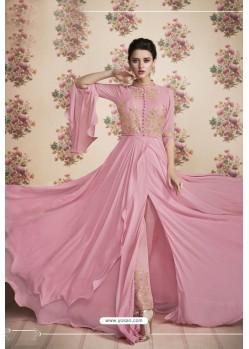 Pink Heavy Embroidered Designer Real Georgette Anarkali Suit