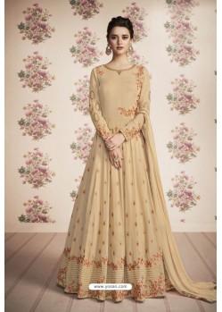 Beige Heavy Embroidered Designer Real Georgette Anarkali Suit